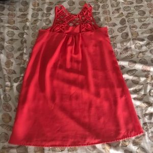 short red dress with cross collar